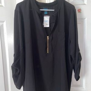 Rue 21 black half zip, blouse 3x